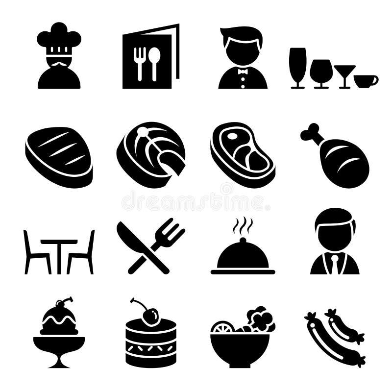De reeks van het restaurantpictogram royalty-vrije illustratie