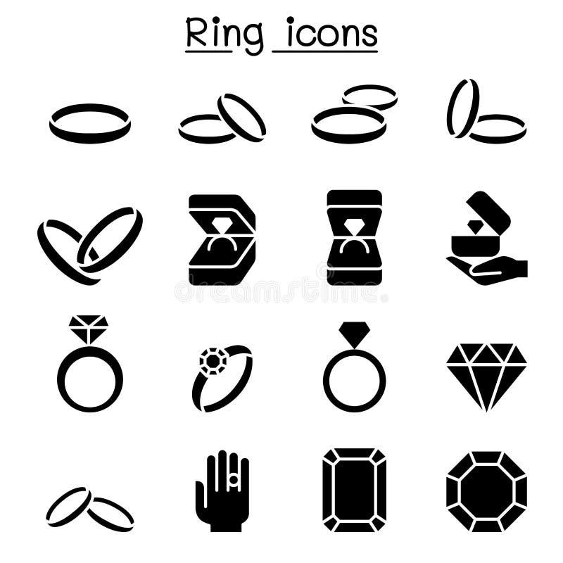 De reeks van het ringspictogram stock illustratie