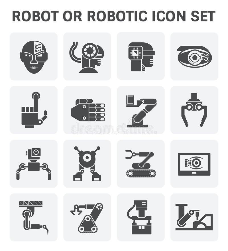 De Reeks van het robotpictogram stock illustratie