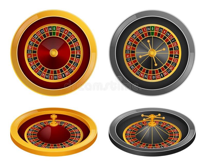 De reeks van het de rotatiemodel van het roulettewiel, realistische stijl vector illustratie