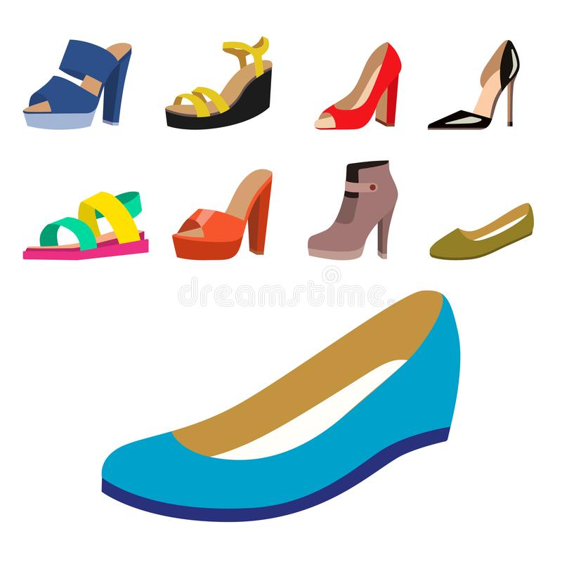 De reeks van van het de schoenen de vlakke ontwerp van vrouwen vectorinzameling van leer kleurde de illustratie van mocassinssand royalty-vrije illustratie