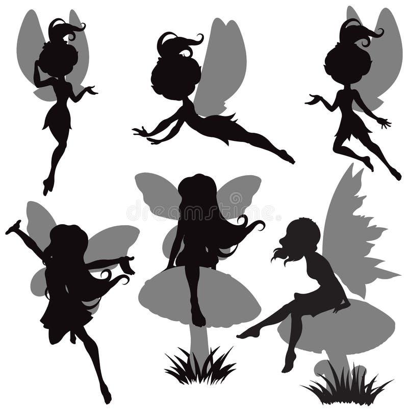 De Reeks van het Silhouet van de fee royalty-vrije illustratie