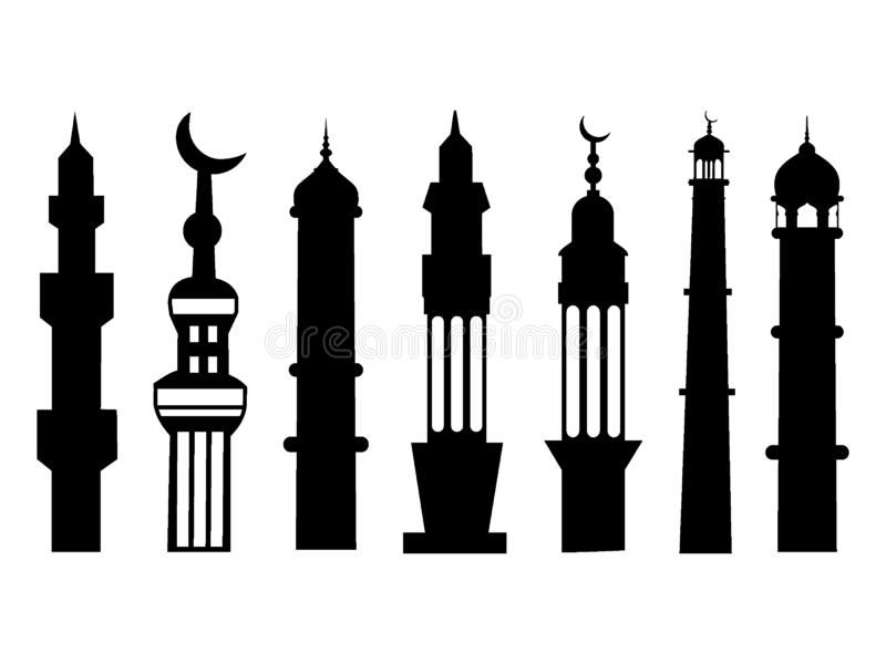 De reeks van het silhouetbeeld van een Minaret van de Islammoskee stock illustratie