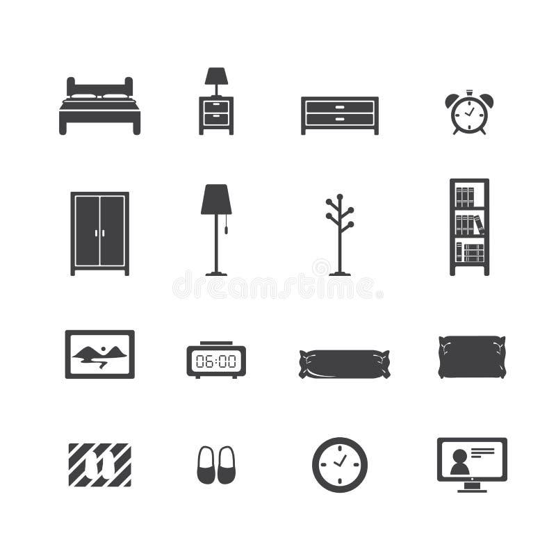 De reeks van het slaapkamerpictogram stock illustratie