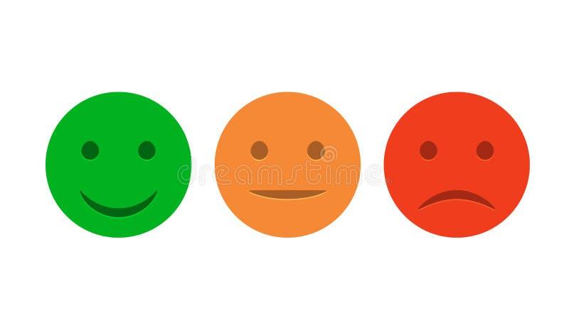 De reeks van het Smileypictogram Positief, neutraal en negatieve Emoticons De vector isoleerde rode en groene stemming Het schatt royalty-vrije illustratie