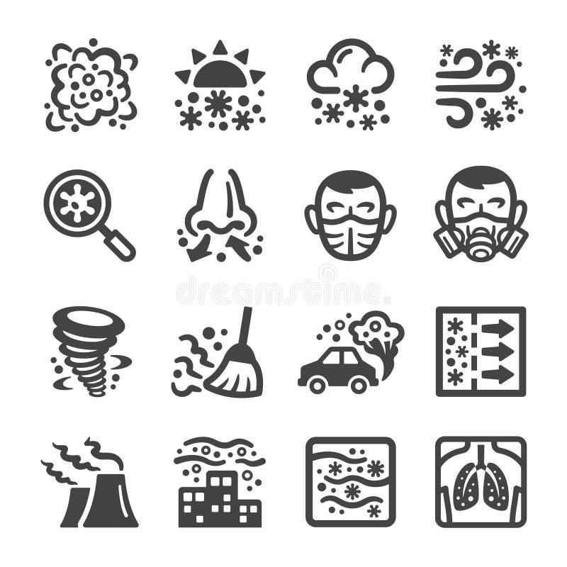 De reeks van het smogpictogram royalty-vrije illustratie