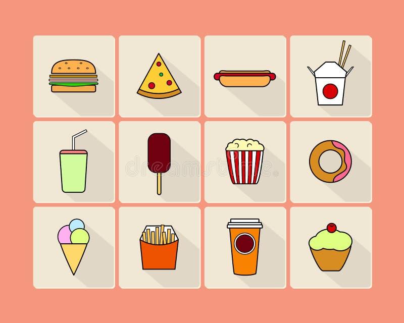 De reeks van het snel voedselpictogram royalty-vrije illustratie