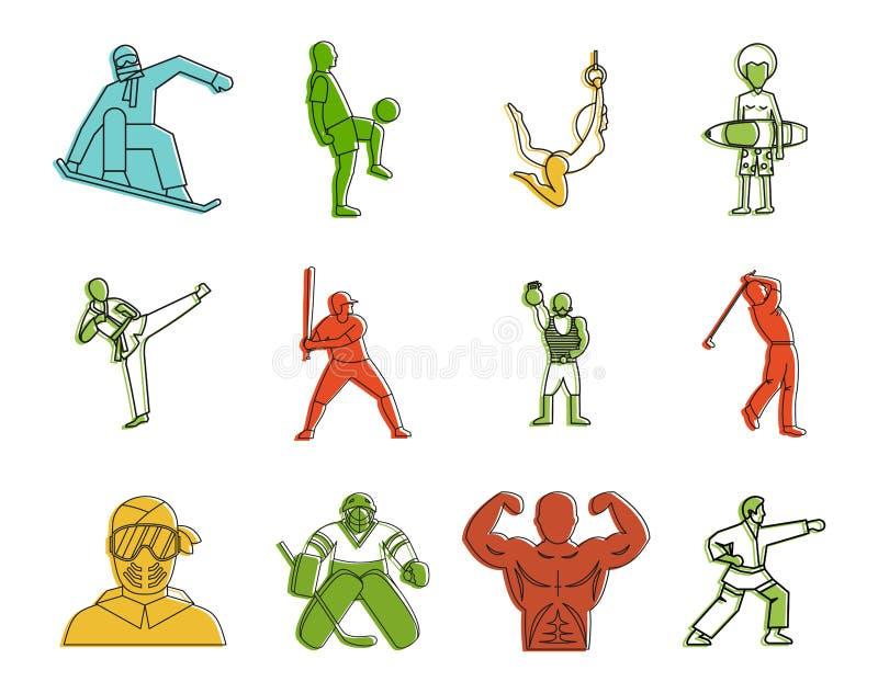 De reeks van het sportmannenpictogram, de stijl van het kleurenoverzicht vector illustratie