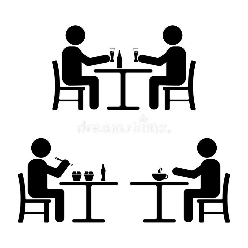 De reeks van het stokcijfer Het eten, het drinken, samenkomend pictogram stock illustratie