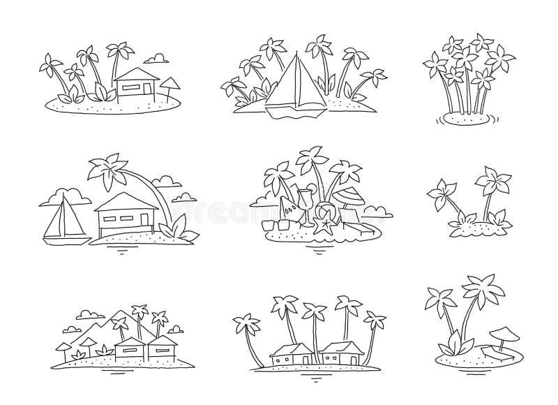 De reeks van het het strandparadijs van het palmeiland Toerismerust oceaanillustratiereeks Overzeese bungalowvakantie Getrokken h royalty-vrije illustratie