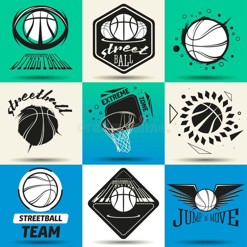 De reeks van het Streetballembleem royalty-vrije illustratie