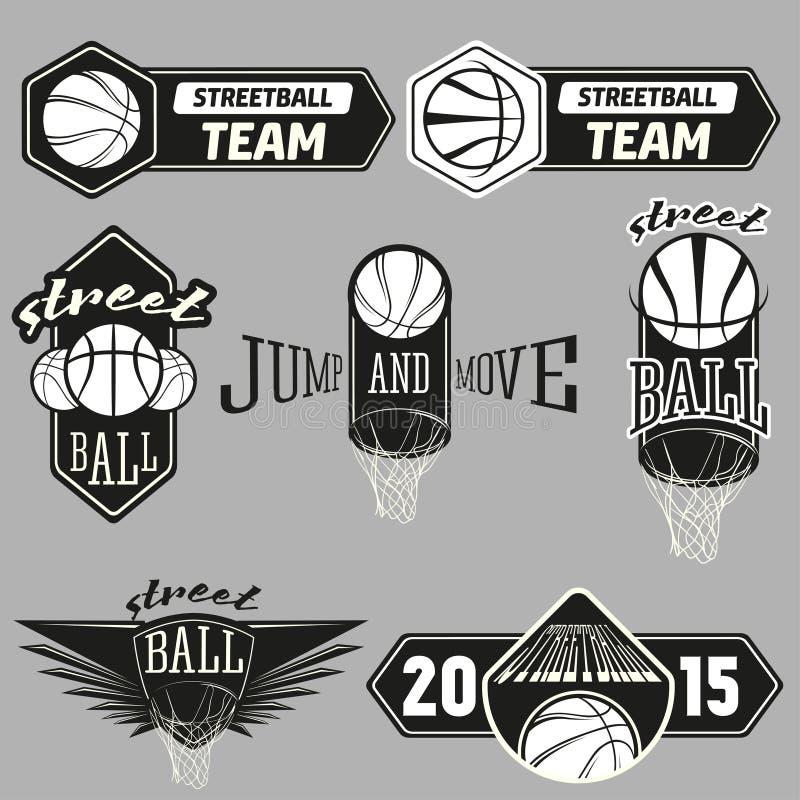 De reeks van het Streetballembleem vector illustratie