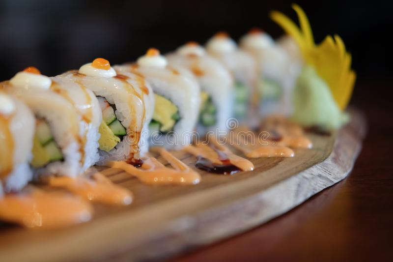 De reeks van het sushibroodje stock foto's
