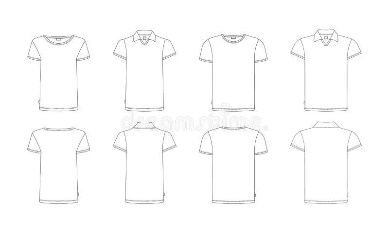 De reeks van het t-shirtmalplaatje royalty-vrije illustratie