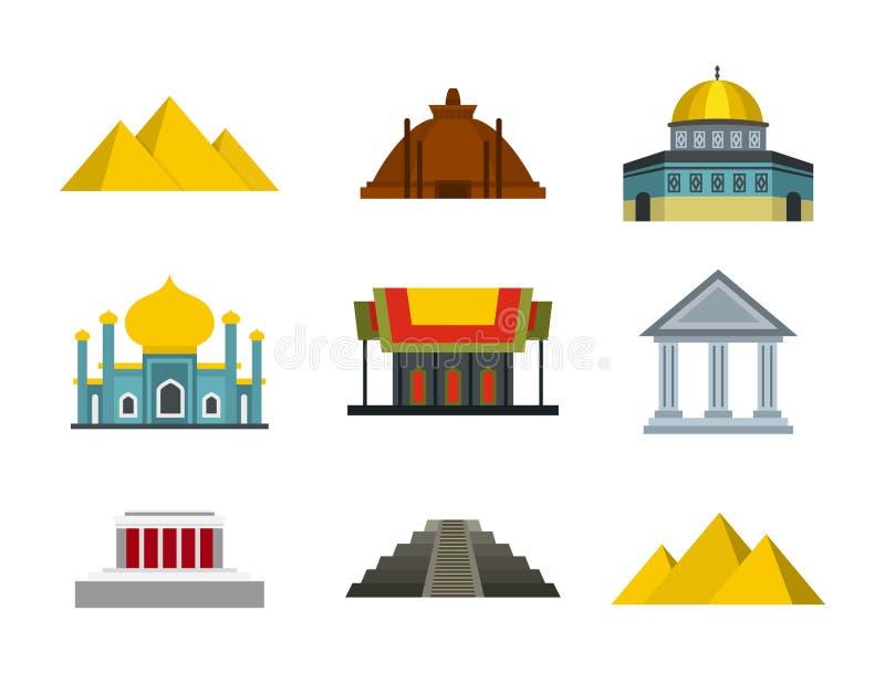 Download De Reeks Van Het Tempelpictogram, Vlakke Stijl Vector Illustratie - Illustratie bestaande uit architectuur, geïsoleerd: 107707162