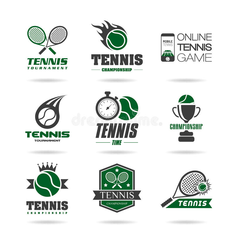 De reeks van het tennispictogram royalty-vrije illustratie