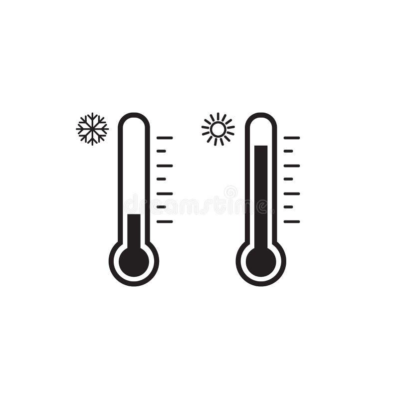 De reeks van het thermometerpictogram Heet en Koud Weer Vector vector illustratie