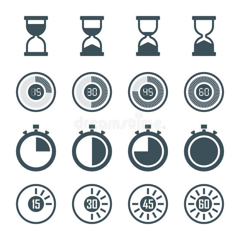 De Reeks van het tijdopnemerpictogram stock illustratie