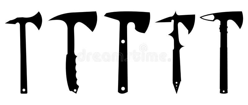 De reeks van het tomahawksilhouet stock illustratie