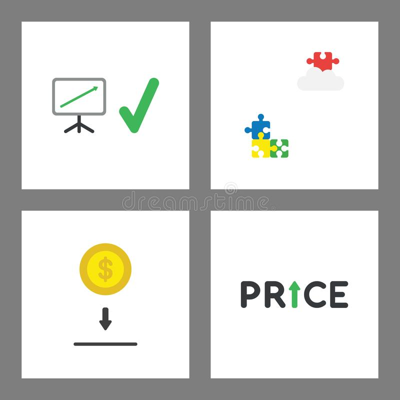 De reeks van het Vconconcept De verkoop brengt omhoog in kaart, omhoog missend raadsel op wolk, sparen geld, prijs stock illustratie