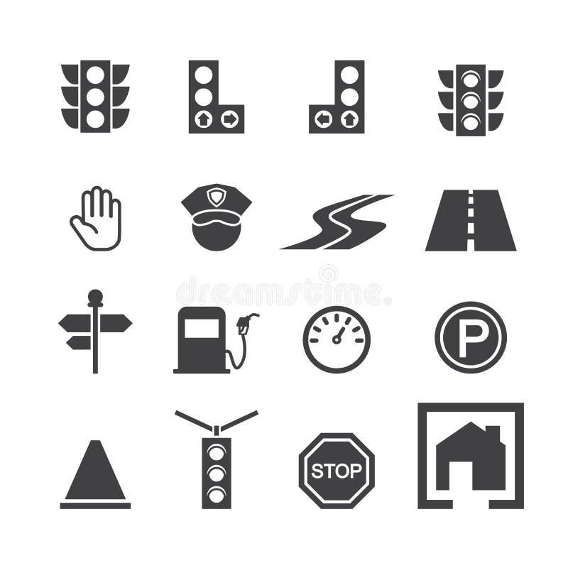 De reeks van het verkeerspictogram stock illustratie