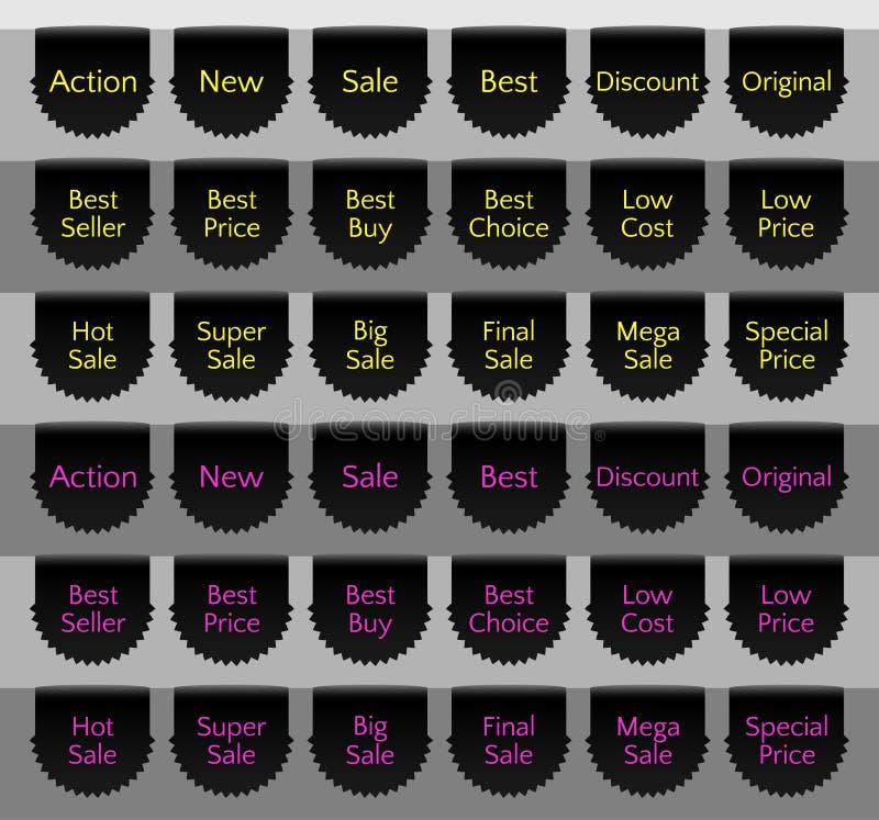 De reeks van het verkooplint, lintbanner, zwarte lintreferentie, vectorverkoopetiket stock illustratie