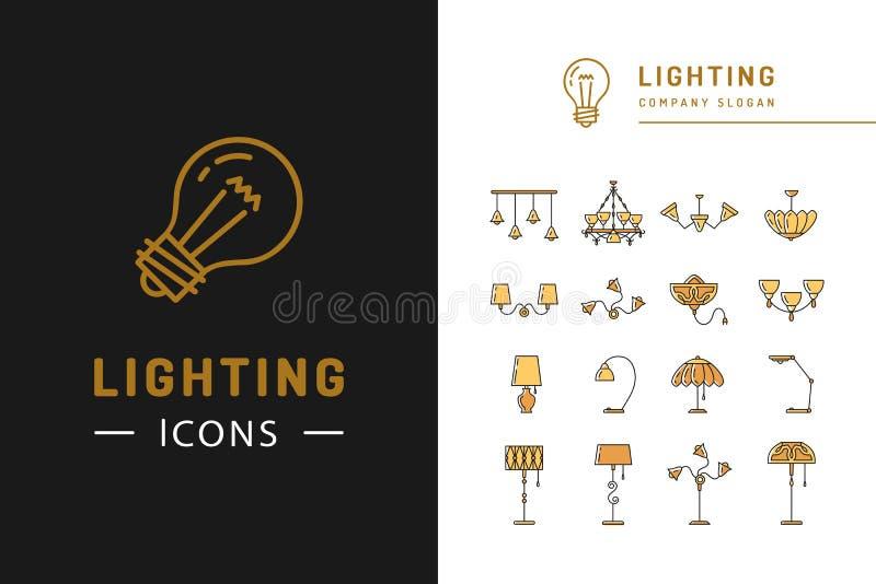 De reeks van het verlichtingspictogram, het vlakke ontwerp van lampensymbolen Dunne lijnkentekens vector illustratie