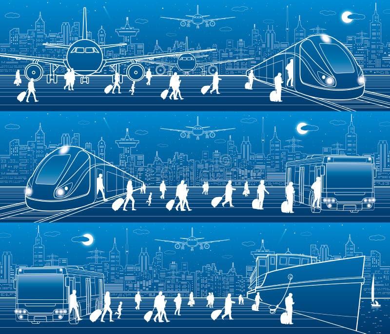 De reeks van het vervoerpanorama De mensen krijgen op trein verlatend vliegtuig De passagiers gaan bij de trein van de busuitgang royalty-vrije illustratie