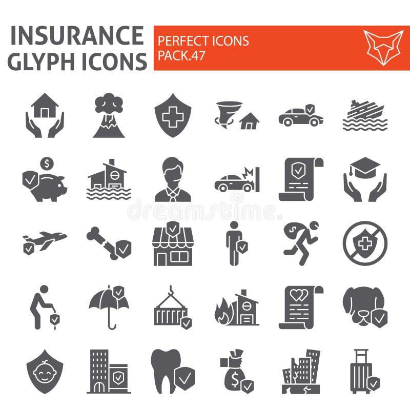 De reeks van het verzekerings glyph pictogram, de inzameling van gezondheidszorgsymbolen, vectorschetsen, embleemillustraties, he vector illustratie