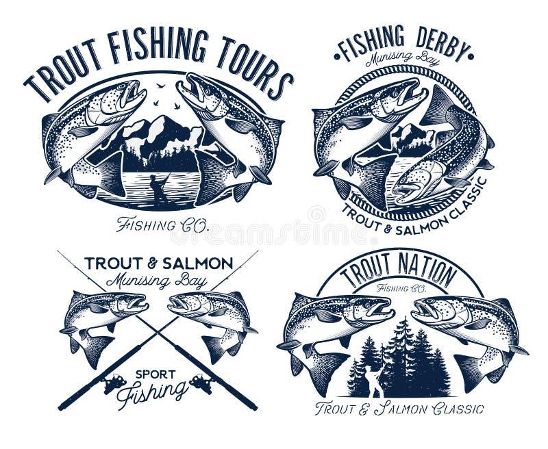 De reeks van het visserijembleem royalty-vrije illustratie