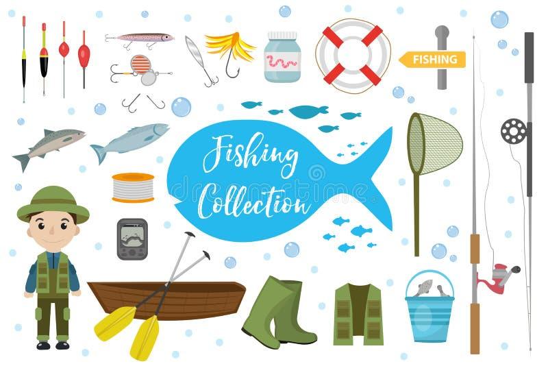 De reeks van het visserijpictogram, vlak, beeldverhaalstijl De voorwerpen van de visserijinzameling, ontwerpelementen, op witte a stock illustratie