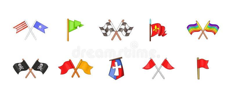De reeks van het vlagpictogram, beeldverhaalstijl vector illustratie
