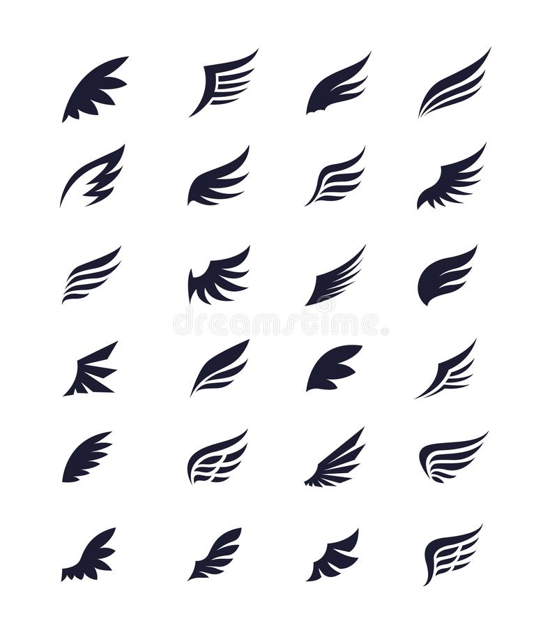 De reeks van het vleugelspictogram stock illustratie