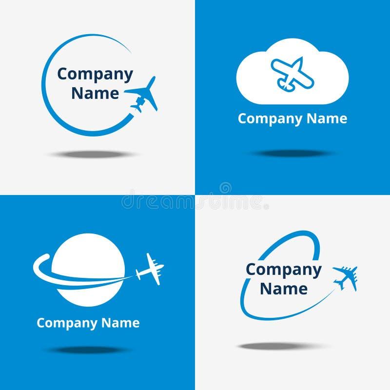 De reeks van het vliegtuigembleem De vectoremblemen van de luchtreis of de reizende tekens van het vluchtvliegtuig met blauwe ach royalty-vrije illustratie