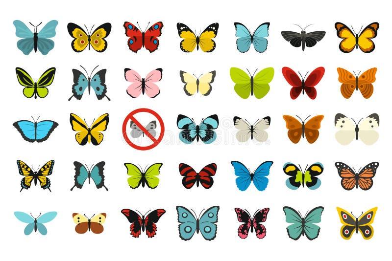 Download De Reeks Van Het Vlinderpictogram, Vlakke Stijl Vector Illustratie - Illustratie bestaande uit viering, mooi: 107707043