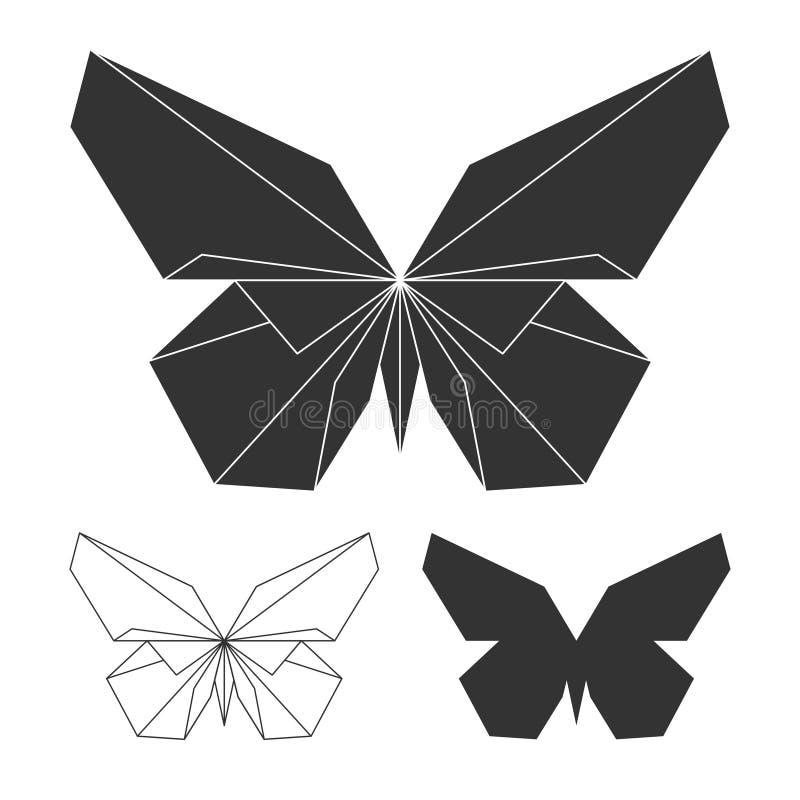 De reeks van het vlindersembleem Vectorlijn en silhouetvlinder royalty-vrije illustratie