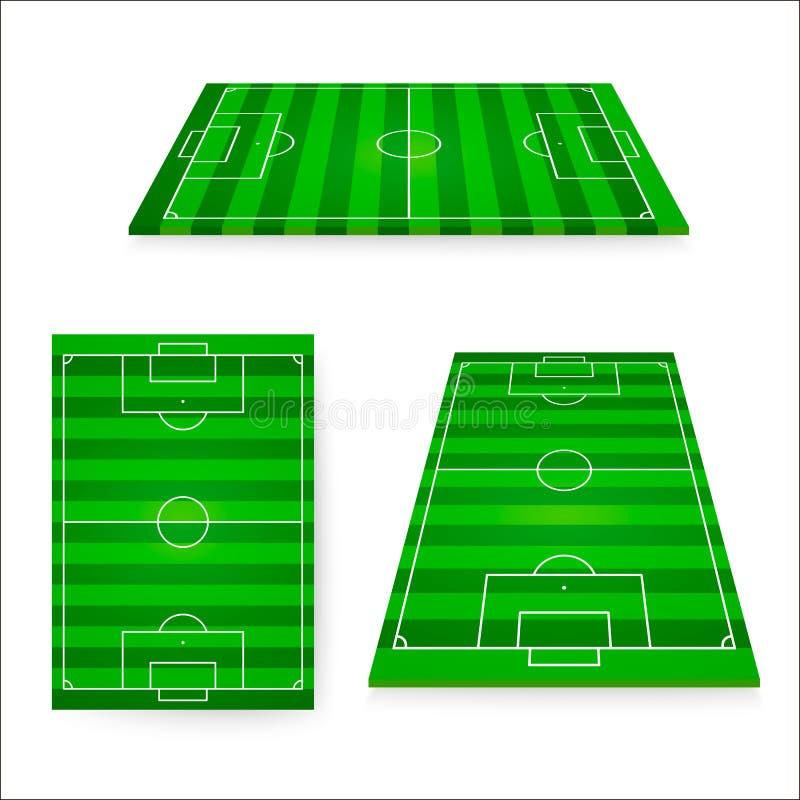 De reeks van het voetbalgebied Groen Europees het ontwerpelement van het voetbalgebied Vector illustratie die op witte achtergron stock illustratie