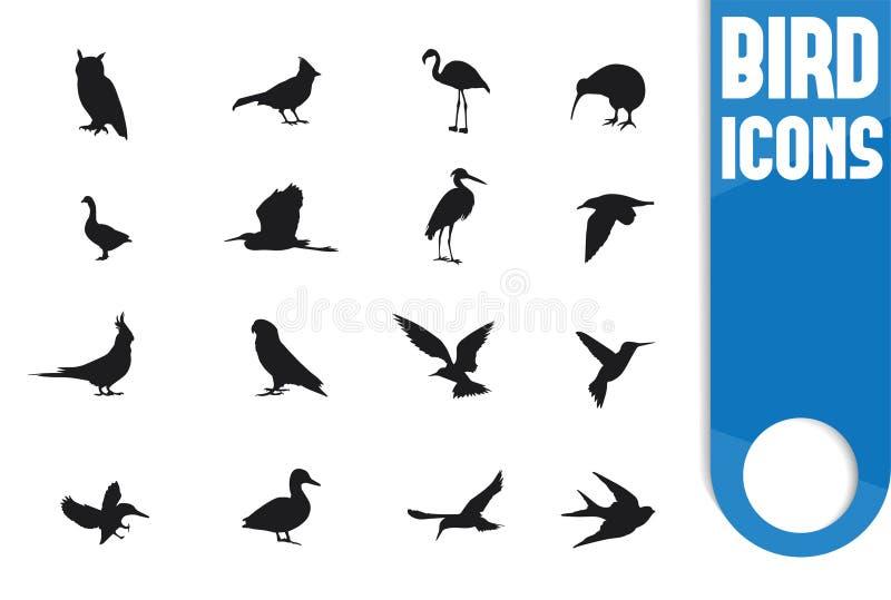 De reeks van het vogelpictogram royalty-vrije stock foto