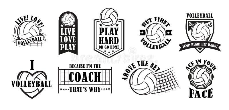 De reeks van het volleyballembleem, vectorillustratie vector illustratie