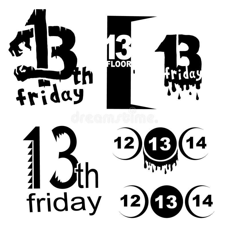 De reeks van het vrijdag dertiende embleem stock illustratie