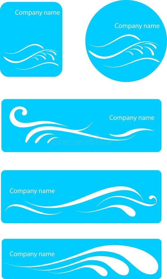 De reeks van het waterembleem stock illustratie