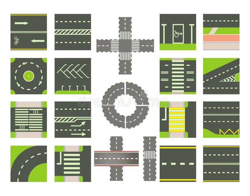 De reeks van het wegenpictogram, beeldverhaalstijl stock illustratie