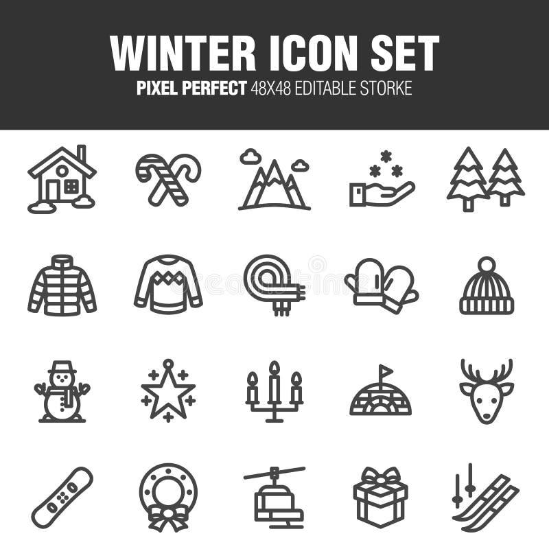 De reeks van het de winterpictogram stock illustratie