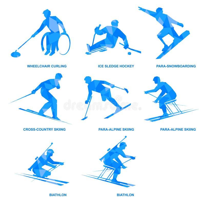 De reeks van het wintersportenpictogram Acht silhouetten van gehandicapte atleten stock illustratie