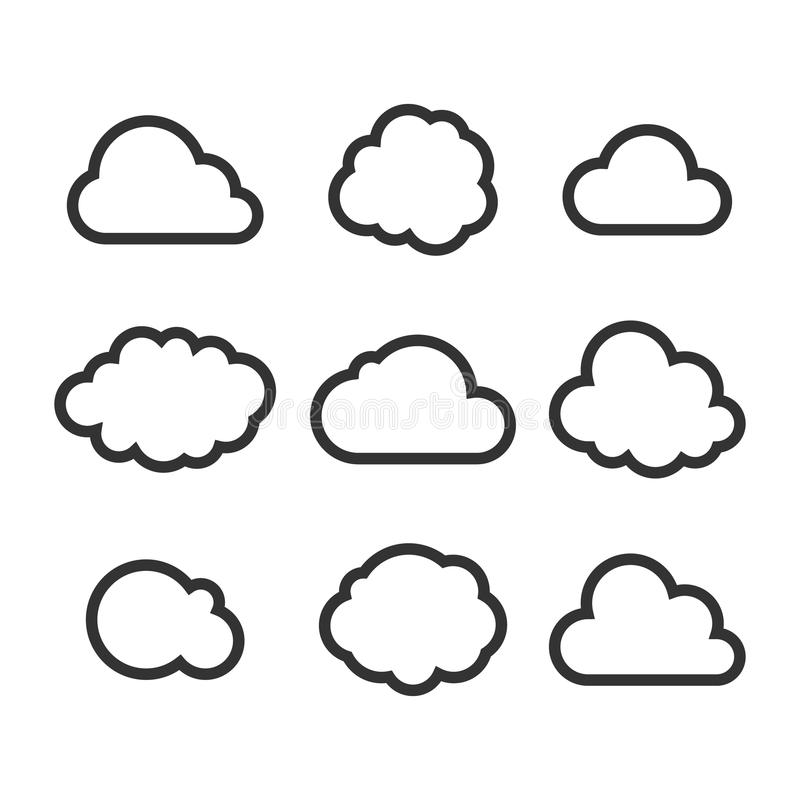 De Reeks van het wolkenpictogram royalty-vrije illustratie