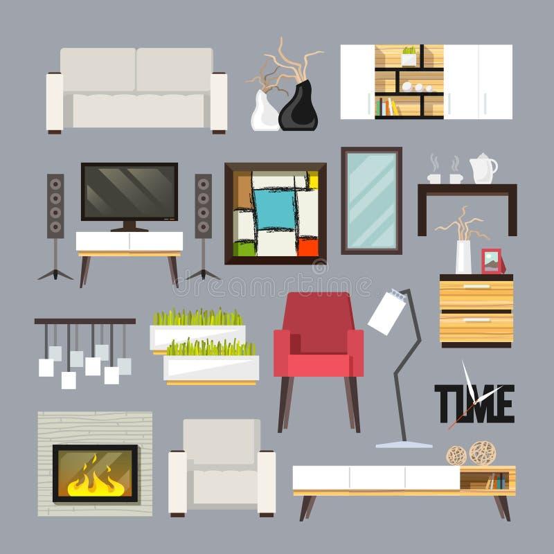 De Reeks van het woonkamermeubilair royalty-vrije illustratie