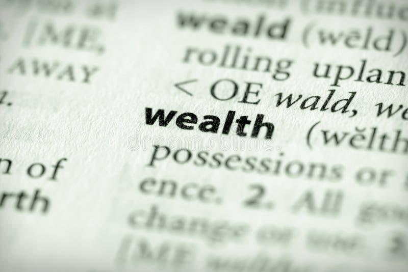 De Reeks van het woordenboek - Economie: rijkdom royalty-vrije stock afbeelding