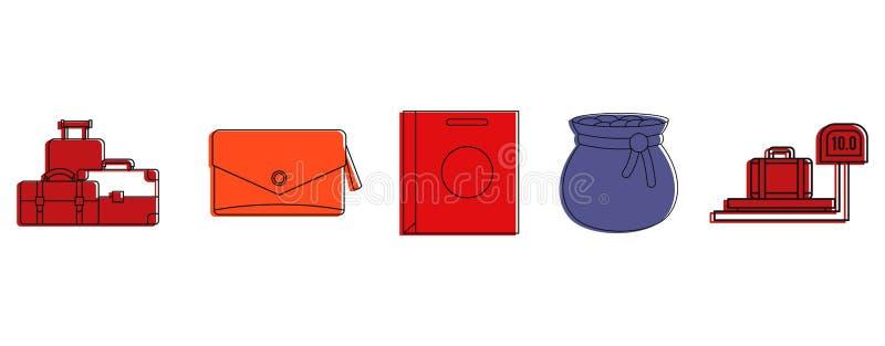 De reeks van het zakkenpictogram, de stijl van het kleurenoverzicht stock illustratie