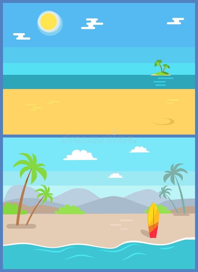De Reeks van het zomerparadijs van Vectorsandy beaches vector illustratie