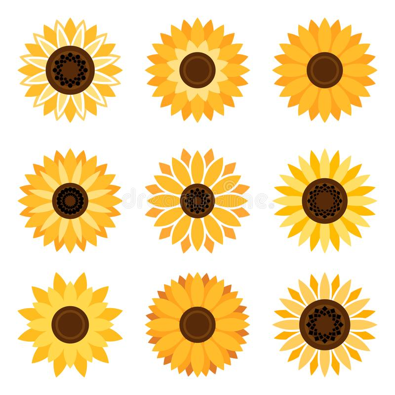 De reeks van het zonnebloemembleem stock illustratie